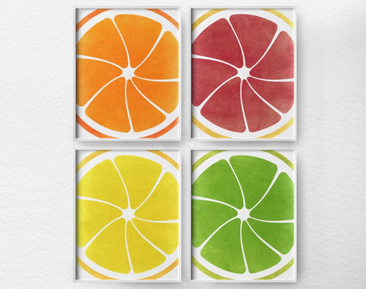 Citrus print citrus decor fruit kitchen art kitchen decor - Kitchen curtains with fruit design ...