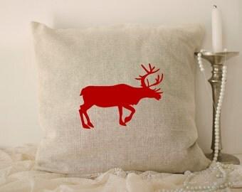 Deer pillow case, Deer Pillow Cover, stag silhouette, Deer Throw Pillow, Christmas pillows, Decorative Pillow Case, Animal Pillow Case
