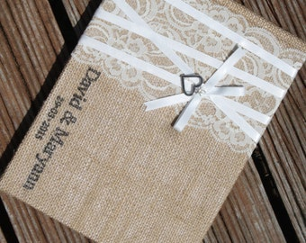 A5 Personalised Burlap/Hessian Wedding Guest Book for Vintage/Rustic/Country theme