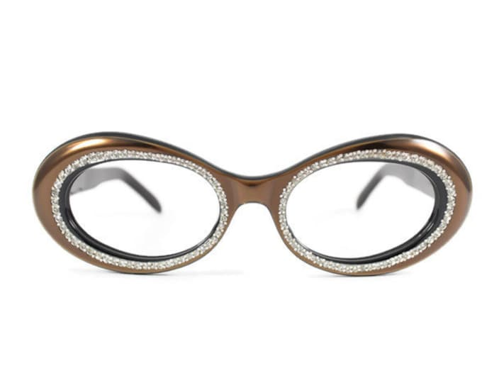 60s Vintage Eyeglasses | 1960s Bronze Oval Jeweled Glasses | NOS Eyeglass Frame | Deadstock Eyewear