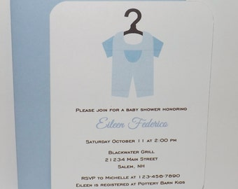 Boy Baby Invitation - Boy Baby Shower Invitation - Boy Laundry Invitation - Set of 10