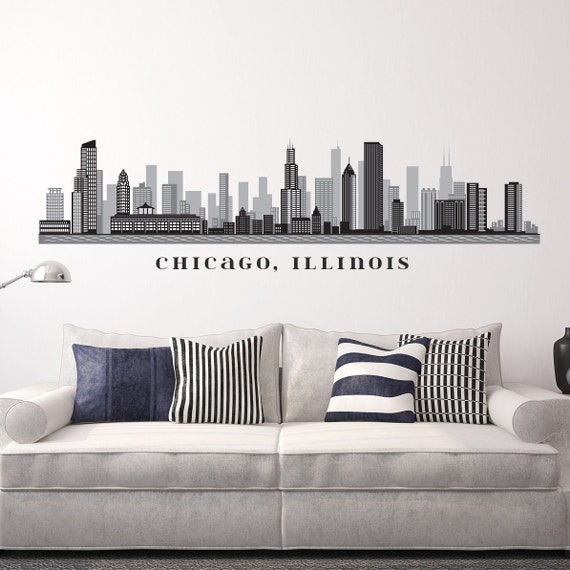 Chicago illinois skyline removable wall decal art vinyl peel n for Good look chicago skyline wall decal