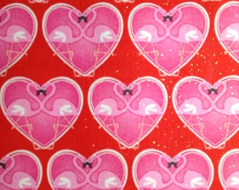 SALE - One Yard of Fabric - Flamingo Hearts