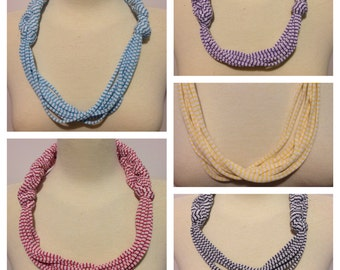 White with Stripes T-Shirt Yarn Necklace Style Set of All Five #1 Adult