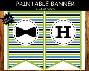Little Man 1st Birthday Decorations, Mustache Bash Party, Bow Tie Birthday Party, Printable Bow Tie Birthday Banner, Party Printables