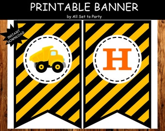 Construction Party, Construction Birthday Printable, Truck Party, Printable Birthday Banner, Construction Banner -Instant Download