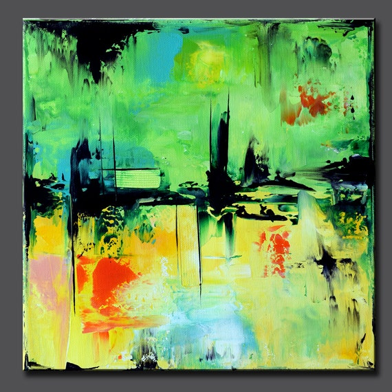 Small Abstract Square Art Painting Green Abstract Painting