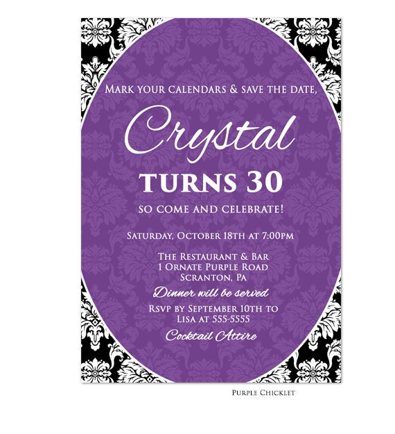 16th 18th 30th Birthday Invitation Purple Black Elegant Damask