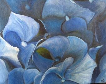 original acrylic of hydrangeas, impressionistic/abstract