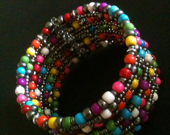 rainbow colored dyed stone and glass memory wire cuff bracelet