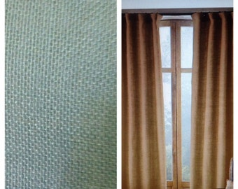 Spa Blue Burlap Curtains & Valances Made to Order Drape