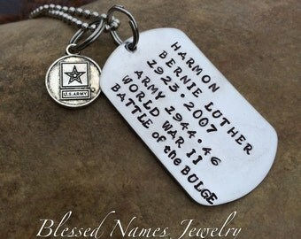 Dog Tag, Army Dog Tags, Marine dog tag, Hand Stamped Stainless In Honor dog tag, habd stamped dog tag in memory, Dog Tag necklace keychain