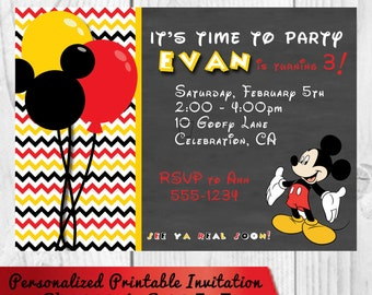 Personalized Birthday Invitation - Mickey Mouse - Printable Digital File