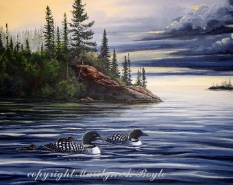 ORIGINAL ACRYLIC PAINTING;loons,free shipping for Christmas,scene wilderness,Canadian art,lake,storm clouds,nature,wall art, 24x28 inches