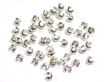 50pcs x 4mm Tarnish Resistant Silver Plated Crimp Covers