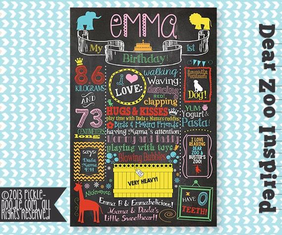 Dear Zoo Birthday Chalkboard Zoo Party Dear Zoo Party