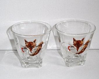Pair of fox shot glasses