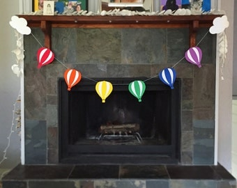 Rainbow Hot Air Balloon Party Banner Garland, Balloon Garland, Hot Air Balloon Banner