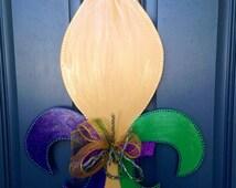 Mardi Gras Fleur De Lis Wooden Door Hanger