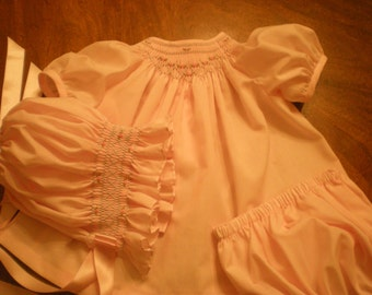smocked baby girl dress, layette, diaper shirt, diaper cover and bonnet