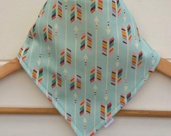 Organic Baby Bandana Bib with Multi Colour Arrows Pattern