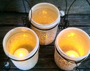 Mason Jar Lanterns, Shabby Chic Candle Holders, Flower Vases, Set Of 3 Cream Colored Jars