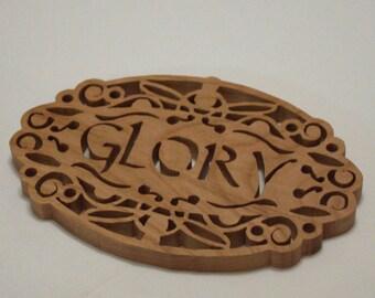Glory Cherry Trivet - Potholder - Wooden trivet.