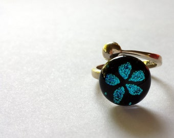 Dichroic glass sterling silver ring adjustable blue star