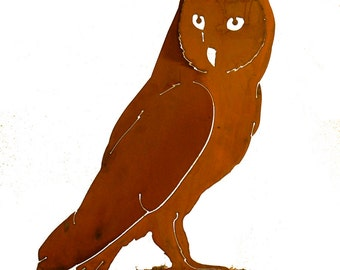 Barn Owl Steel Silhouette with Rusty Patina