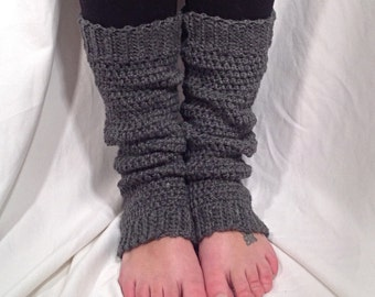 Grey Heather Wool Crochet Leg Warmer