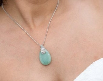 Jade Tear Drop Necklace.