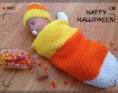 Candy Corn Photo Prop, Infant Halloween Costume, Newborn Cocoon, Baby Sleep Sack, Crochet Baby Bunting and Hat, Unisex Baby Shower Gift