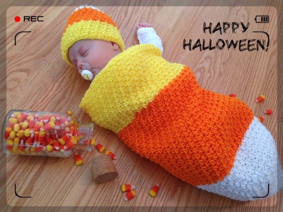 Candy Corn Photo Prop, Infant Halloween Costume, Newborn Cocoon, Baby Sleep Sack, Crochet Baby Bunting and Hat, Unisex Baby Shower Gift