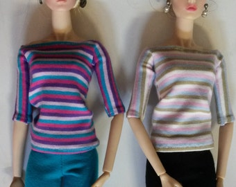 Fashion Royalty or Barbie. .  Liitle Stripes Boatneck 1/2 Sleeves Top.