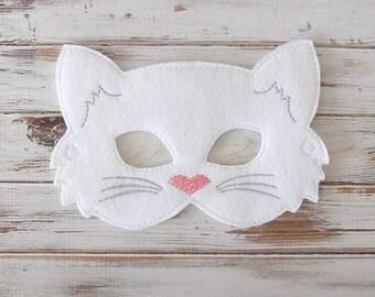 Kids Cat Mask - Felt Mask - Kitty - White , Black - Costume - Dress Up - Halloween - Pretend Play