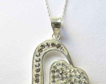 Sterling Siilver Necklace , Silver Necklace , Valentines Day Heart , Heart Necklace with Zircon Gems