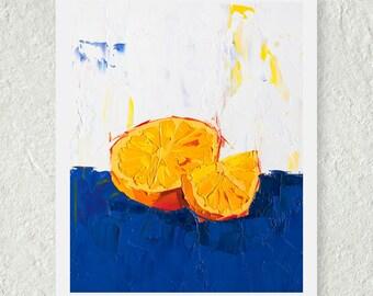 Orange Print, Blue and Orange Artwork, Art for the Kitchen, Food Painting, Still Life Art, Fine Art Painting, Home Wall Decor, Citrus Fruit