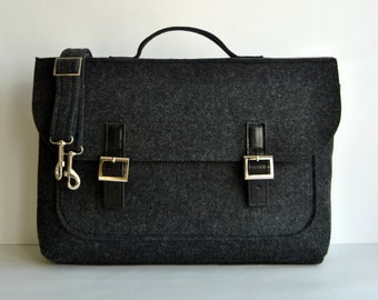 "SALE !! Felt leather laptop bag 17"" with leather briefcase 17 MacBook Pro laptop, urban felt bag, Common Laptop Leather Felt laptop bag"