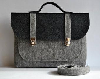 ON SALE -28% off !! Felt briefcase 13 MacBook Pro Felt laptop bag,satchel, case, gray and anthracite felt color, Common Laptop Bag