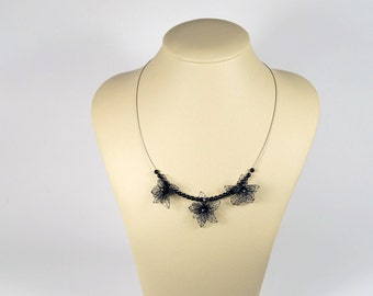black necklace, bobbin lace, Collier made of wire, lace jewelry