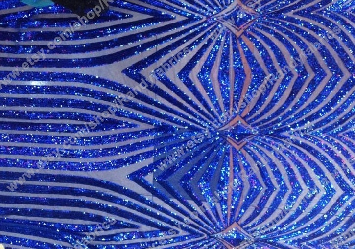Blue sequin embroidery fabric stage performances