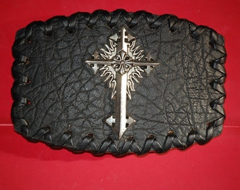 Cross conchos Insert  Leather Vintage Belt Buckle