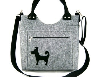 FELT BAG / in hand/ in shoulder /Small dog on pocket/strap