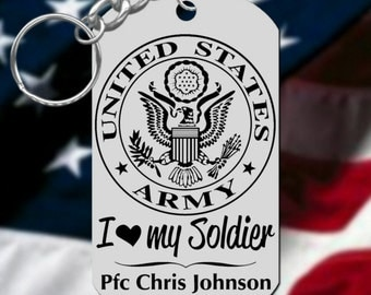 I Love my Soldier ARMY Keychain, Engraved FREE with his NAME & Rank!