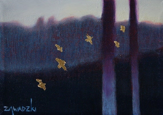 Gold and purple forest small oil