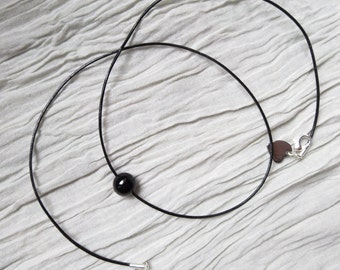 Black Onyx Leather Necklace, Onyx Gemstone Leather Choker, Black Gemstone Necklace