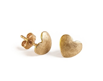 Women Gold Stud Earrings, Heart Shape Stud Earrings, Solid Gold Earrings The Heart Of Love-Perfect For Valentines Day