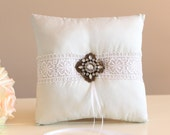 Silk Wedding Ring Pillow Cool White with Vintage Brooch, Ring Cushion
