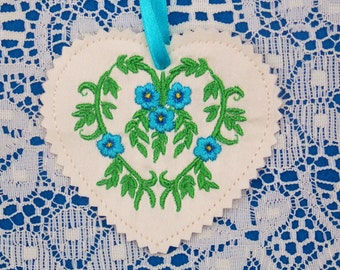 Christmas  ~ Holiday ~ Valentine Floral Heart Ornament Machine Embroidered on Silk in Turquoise, Blue, Gold & Green