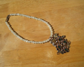 one of a kind prenite and gold over sterling necklace